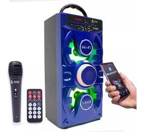 Caixa De Som Microfone Karaoke Bluetooth Vc-m876qbt Fm/usb