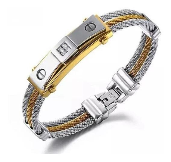 Pulseira Bracelete Masculino Aço Cirúrgico Banhado Ouro 18k