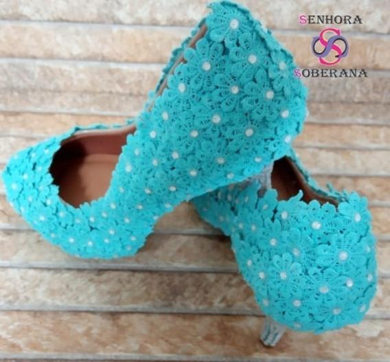 Sapato Meia Pata Florado Azul Tifany Glamour (noivas)(festa)