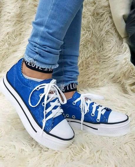 Zapatillas Simil All Star Azul Brillo Glitter Plataforma