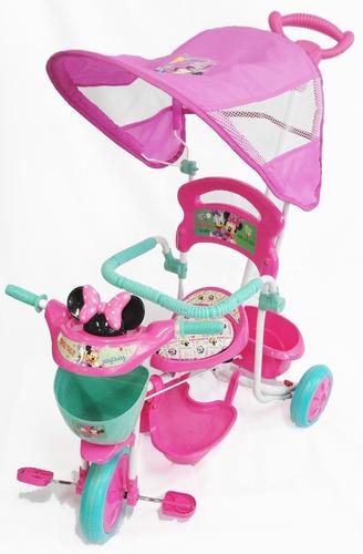 Triciclo Con Guía Y Toldo Minnie