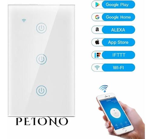 Imagen 1 de 10 de Apagador Inteligente Wifi Touch Triple 3 Botones Interruptor