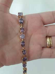 Pulseira 15 Microns Ouro 18k Pedras Ametistas