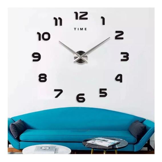 Reloj Minimalista Gigante De Pared 3d Adherible T4208 /e