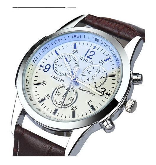 Relógio Masculino Geneva Pulso Social Branco Pulseira Marrom