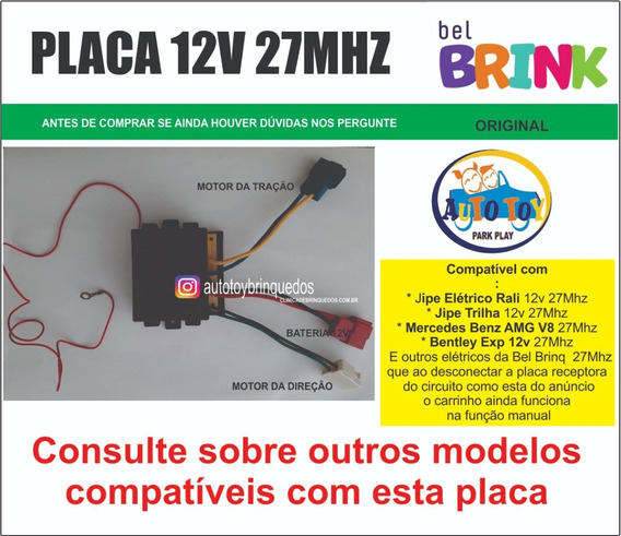 Jipe Trilha 12v Belbrinq 927600 - Só A Placa Receptora 27mhz