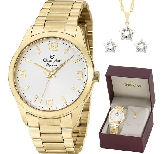 Relógio Champion Analógico Cn26153w Feminino + Semijoia