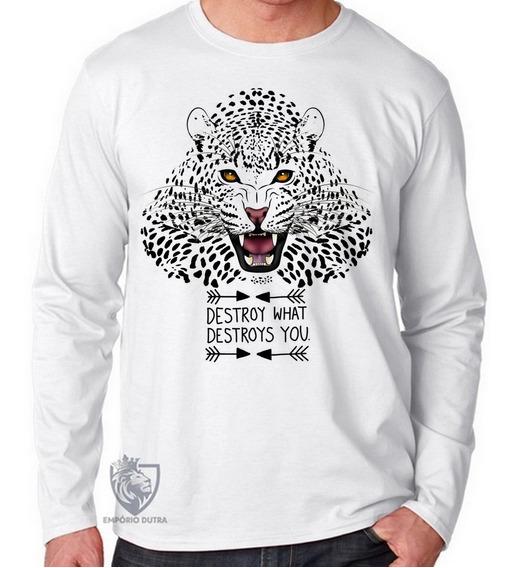 Camiseta Blusa Manga Longa Onça Pintada Tigre Leão Amazoni