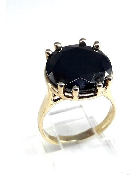 Anel Semi-jóia Folheado À Ouro 18k Feminino Com Pedra Onix