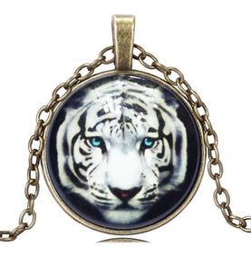 Colar Unissex Cabochão Tigre Branco Zodíaco Chinês Rei Poder