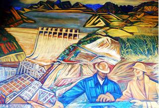 Lienzo Tela Canvas Mural Michoacán Alfredo Zalce 1962 117x80