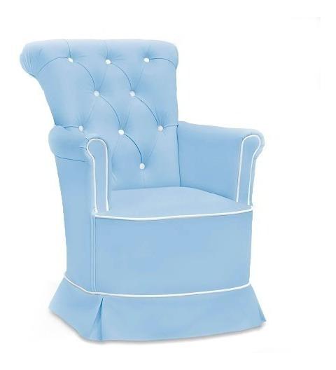 Poltrona De Amamentação Com Puff - Paola - Azul E Branco - F