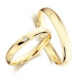 Aliança De Casamento De Ouro 18k Com Diamante De Brinde