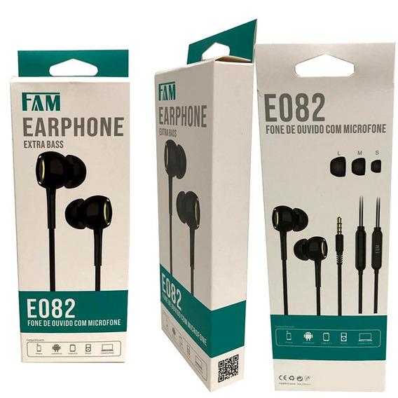 Fone De Ouvido E082 Fam Earphone Microfone Extra Baas