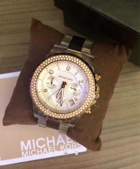 Relógio Michael Kors Com Aro Em Zircônia