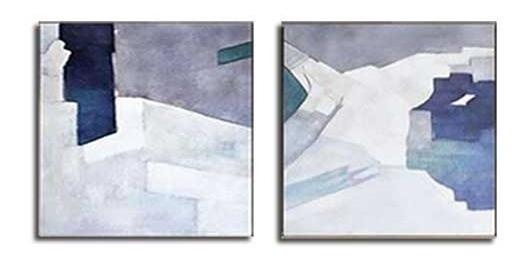 2 Quadros Abstrato Pintura Tela 1,20x1,20 Metro Azul Cinza