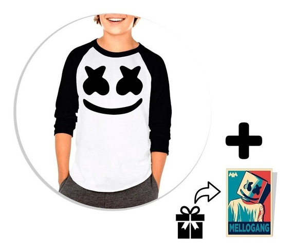 Playera Raglan Niño Marshmello + Sticker De Regalo