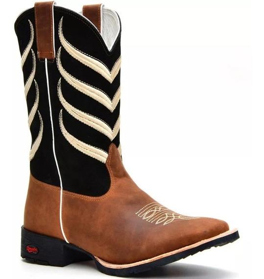 Bota Texana Masculino Em Couro Legitimo Barretos Cowboy Boi