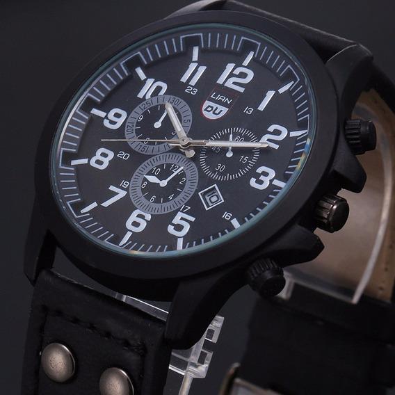 Relógio Masculino Pulseira De Couro Militar Soki Importado