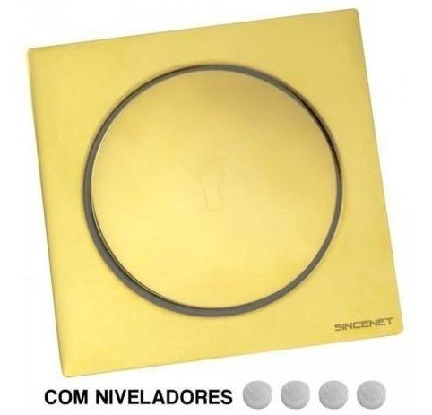 Ralo Click Inteligente Inox Dourado Banheiro 10x10 Cm