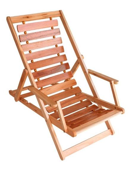 Cadeira Espreguiçadeira Dobrável Com 2 Cabo De Aço E Madeira
