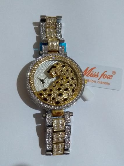 Relógio Feminino Dourado Luxo Strass Onça Promoção + Barato