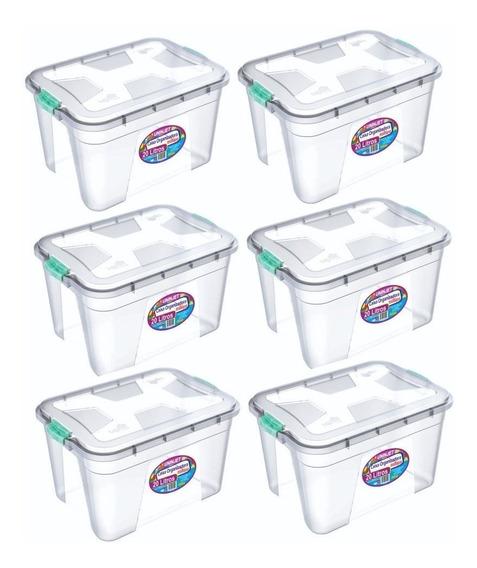 Kit 6 Caixas Organizadoras Transparente 20 Litros Pp Uninjet