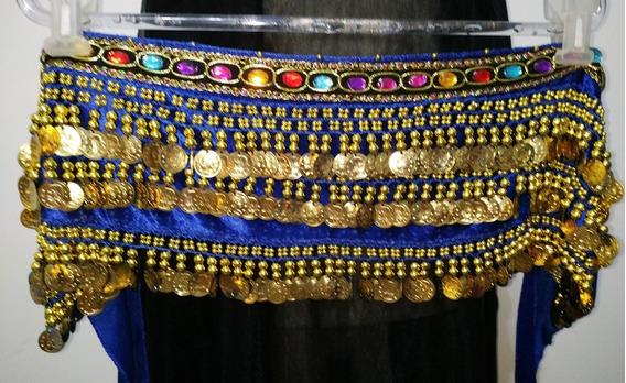 Faja Caderín Danza Árabe Recto Chifon Piedras 3 Filas Moneda