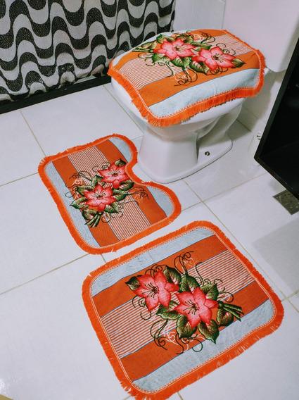 10 Jogo De Tapete De Banheiro 3 Peças