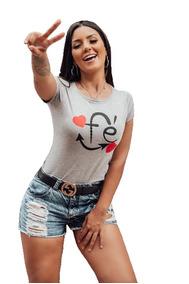 T Shirt Blusas Feminina Kit 6 Unidades