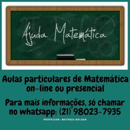 Aulas Particulares De Matemática Na Modalidade On-line.