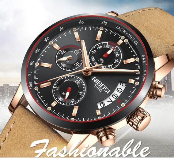 Relógio Pulso - Nibosi - Preto - 42mm - Hardlex