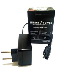 Bateria/carregador Selada 6v4,0ah Moto Elétrica Bandeirantes