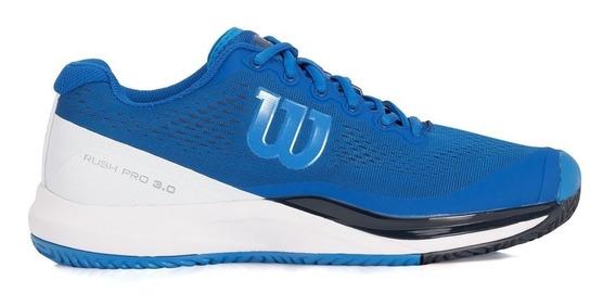 Tênis Wilson Rush Pro 3.0 Masculino - Azul/branco/azul