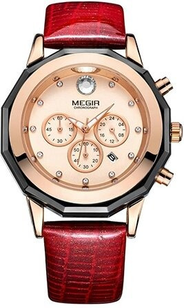 Relógio Megir 2042 Feminino Luxo Militar Fréte Grats