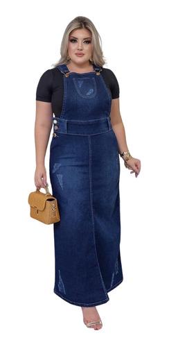 Imagem 1 de 3 de Salopete Jeans Longa Destroyed Moda Evangélica Feminina
