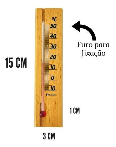 Termômetro Ambiente Em Madeira Pequeno Incoterm