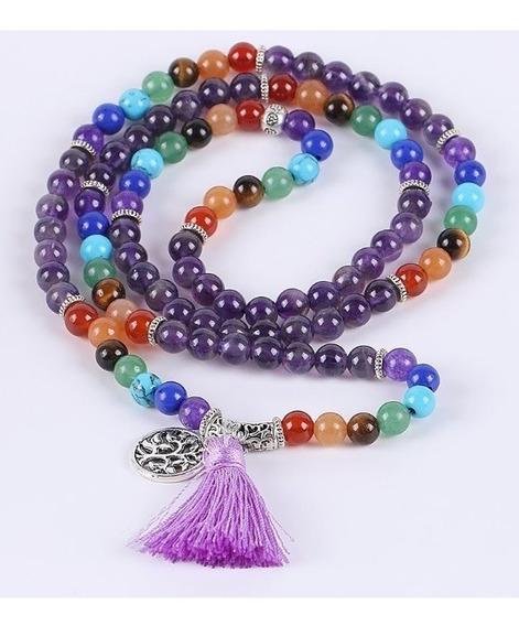 Collar Amatista 7 Chakras Arbol Vida Mala 108 Yoga Reiki