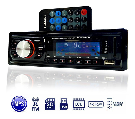 Som Carro Radio Fm Usb Mp3 Player Pen Drive Cartao Sd Aux