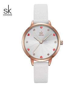 Relógio Feminino Sk Shengke Luxo Branco Resistente A Água