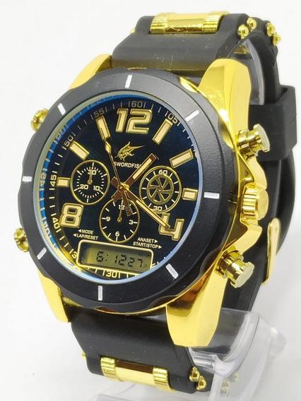 Relógio Luxo Dourado Militar Potenzia Barato+caixa Aproveite