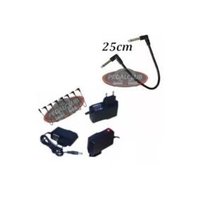 Fonte Pedal 9v 1000ma 7 Pedais + 1 Cabo Pedal 25cm