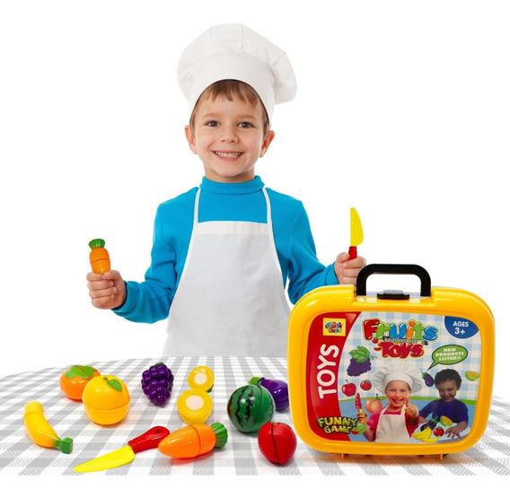 Kit Maleta Frutas Crec Crec Cozinha Infantil Carrinho