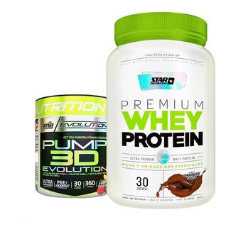 Combo Premium Whey 2 Lb + Pump 3d Evolution Star Nutrition