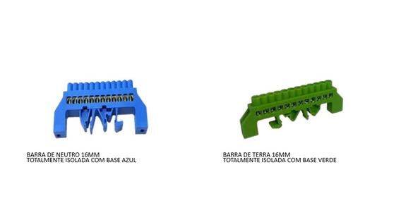 Kit Barramento Neutro E Terra P/ Trilho Din 12 Pólos 16mm
