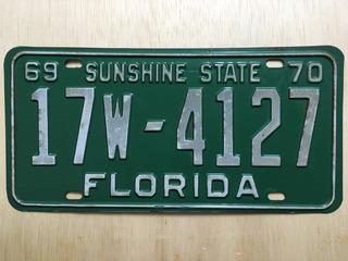 Placa De Carro Americano - Florida - U.s.a. - Original 1970