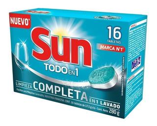 Sun 16 Tabletas Lavavajillas Todo En 1 Limpieza Completa