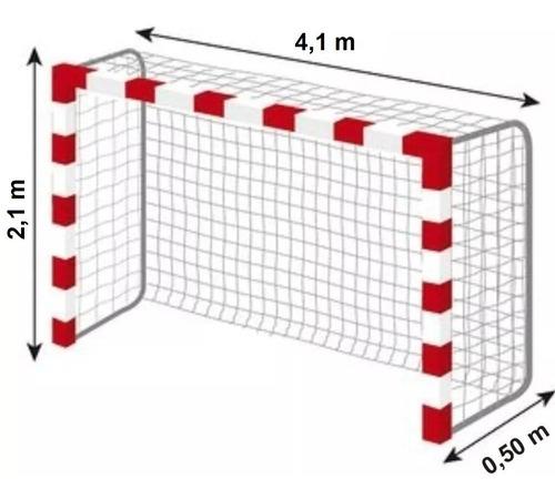 Imagen 1 de 10 de 2 Redes Arco Handball 4x2.m Cajon 0,5.m Soga 2,8.mm Cancha