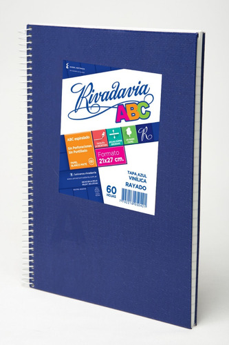 Cuaderno Rivadavia Abc Espiralado 60 Hojas Rayado Azul