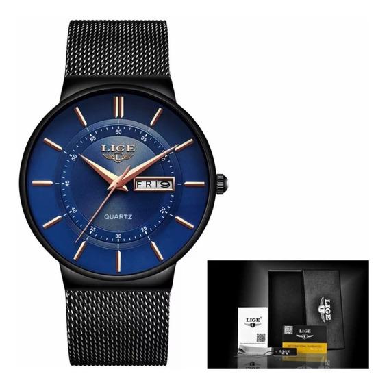 Relógio Masculino Lige Slim Casual 100% Luxo Top Original